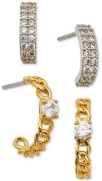 Eliot Danori Two-Tone 2-Pc. Set Cubic Zirconia Hoop Earrings, Created for Macy's