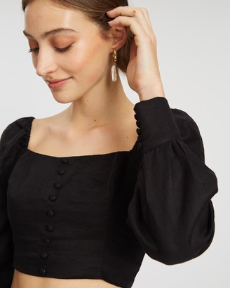 Aere Linen Button Front Top