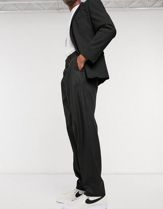 ASOS DESIGN high waist slim smart trousers in black