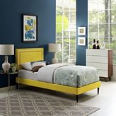 Modway Jessamine Fabric Platform Bed with Round Tapered Legs in Sunny