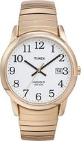 Timex Men's Goldtone Expansion Easy Reader Strap Watch, 2H301, Indiglo, QUICK-DATE, 50 Meter, 10 Year Battery