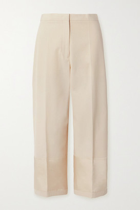 Jil Sander Satin-trimmed Cotton-canvas Wide-leg Pants - Ecru