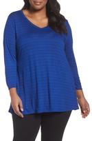 Sejour Plus Size Women's V-Neck Stripe Tee