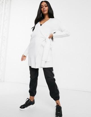 NA-KD Na Kd wrap longline cardigan in white