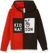 Kid Nation Kids' Long Sleeve Color Block Zip Hoodie Sweater XL for Boys or Girls