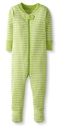 Moon and Back One Piece Footed Pajama Sleepers, Lime Green