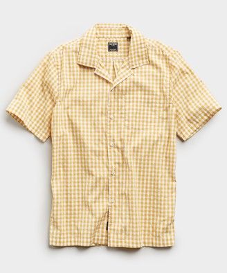 Todd Snyder Micro Gingham Short Sleeve Shirt in Yellow