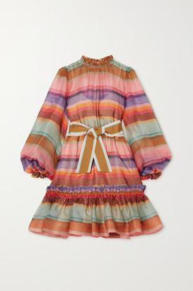 Zimmermann The Lovestruck Belted Striped Silk-organza Mini Dress - Pink