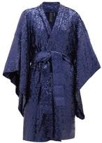 Norma Kamali Sequinned Wrap Jacket - Womens - Navy