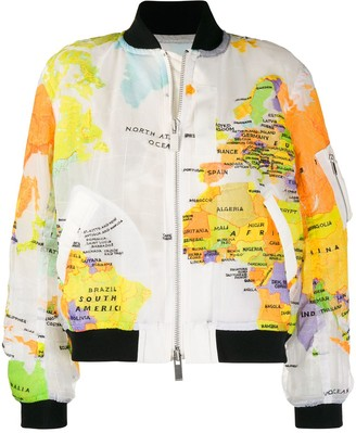 Sacai World Map Print Side Zip Bomber Jacket