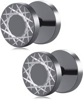 U2U Jewelry Pair Of Stainless Steel Geometry Pattern Cut Fake Plug Stud Earrings For Men (Styles Optional)
