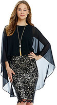 Belle Badgley Mischka Banded Front Sheer Overlay Marcella Top
