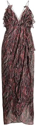IRO metallized draped detail dress