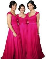 Fanciest Women' Cap Sleeve Lace Bridesmaid Dresses Long Wedding Party Gowns US