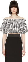 Dolce & Gabbana Black & White Ruffled Off-the-Shoulder Blouse