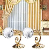 Elaco 2X Large Metal Crystal Glass Curtain Holdback Wall Tie Back Hanger Holder (Gold)