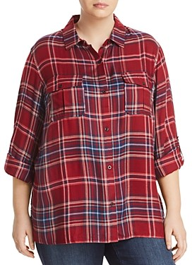 Seven7 Plaid Button-Down Top