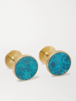 Alice Made This - Bayley Marble-Effect Gold-Tone Cufflinks - Men - Blue