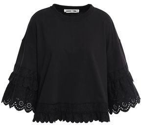 McQ Broderie Anglaise-trimmed Cotton-jersey Top