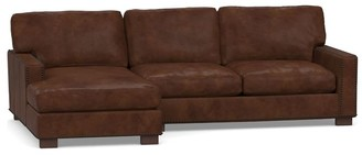 Pottery Barn Turner Square Arm Leather Sofa Chaise Sectional with Nailheads