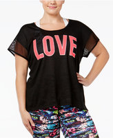 Material Girl Active Plus Size Mesh Graphic T-Shirt, Only at Macy's