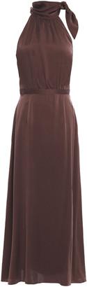 Zimmermann Tie-neck Gathered Washed-silk Maxi Dress