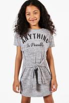 Boohoo Girls Anything Is Posible Tie Waist Dress