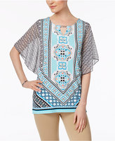 JM Collection Petite Embellished Printed Keyhole Top, Only at Macy's