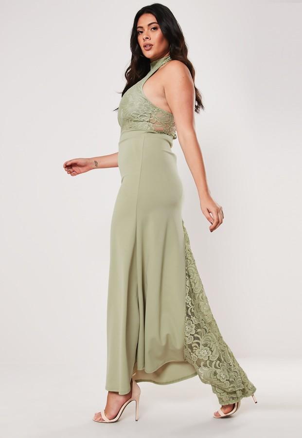 Missguided Plus Size Bridesmaid Green Halterneck Maxi Dress