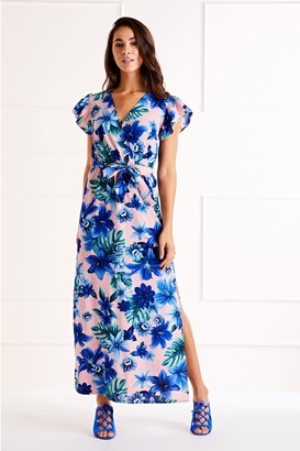 Yumi Tropical Ruffle Sleeve Maxi Dress