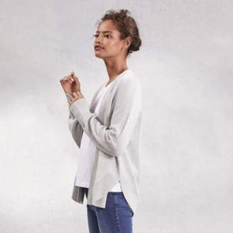 The White Company Wool-Cotton Curved-Hem Cardigan , Pale Grey Marl, Large