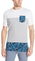 Southpole Men's Short Sleeve Cut and Sewn T-Shirt with Splash Prints On Bottom and Pocket