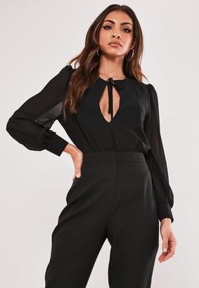 Missguided Petite Black Sheer Plunge Bodysuit