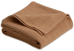 Vellux Cotton Textured Chevron Woven Twin Blanket Bedding
