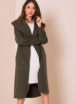 Missy Empire Shay Khaki Waterfall Drape Coat