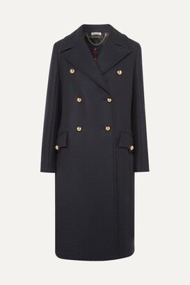 Miu Miu Double-breasted Wool-twill Coat - Navy