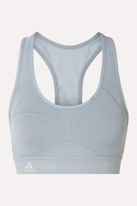adidas by Stella McCartney Performance Essentials Mesh-paneled Climalite Sports Bra - Sky blue