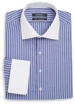 Slim-Fit Stripe Linen & Cotton Dress Shirt