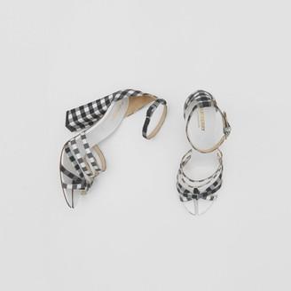 Burberry Split-Toe Detail Gingham Cotton Sandals