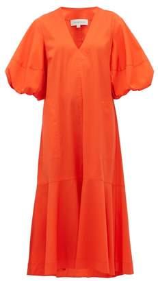 Lee Mathews - Ginger Puff-sleeve Cotton-blend Midi Dress - Womens - Orange