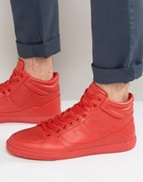 Pull&bear Faux Leather Hi-top Trainers In Red