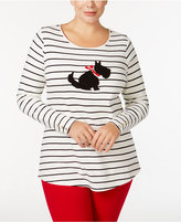 Charter Club Plus Size Beaded Scottie Dog Top, Only at Macy's
