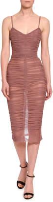Dolce & Gabbana Spaghetti Strap Ruched Tulle Dress