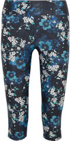 The Upside Power Cropped Floral-print Stretch-jersey Leggings - Blue