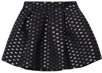 Charabia Metallic Bow-Print Skirt (3-14 Years)