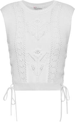 RED Valentino Crochet-trimmed Pointelle-knit Cotton Top