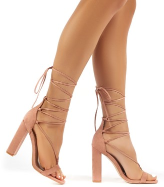 Public Desire Frankie Suede Lace Up Block High Heels