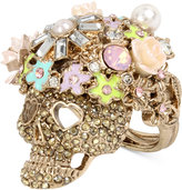 Betsey Johnson Rose Gold-Tone Flowery Glitter Skull Ring