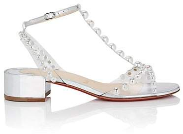 Christian Louboutin Women's Faridaravie Studded Leather & PVC Sandals - Silver, Clear ab