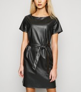 New Look Cameo Rose Leather-Look Belted Dress